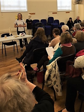 Moira talks to the WI at their head office in Bedford Feb 2018